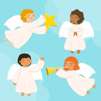Hand drawn christmas angel collection