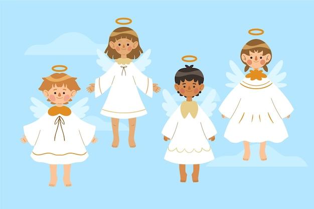 Collezione di angeli di natale disegnati a mano