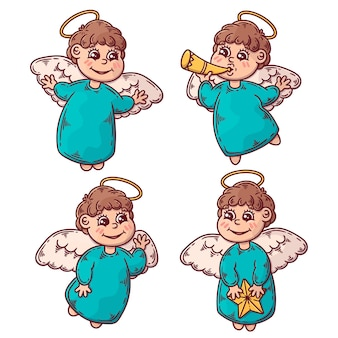 Hand drawn christmas angel illustration set