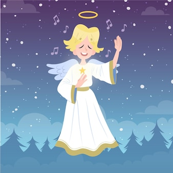 Hand drawn christmas angel illustration