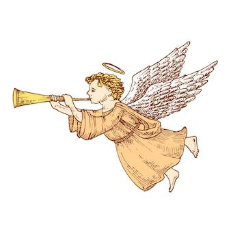 ホーンカラーベクトルイラストと手描きのクリスマスの天使。抽象的なスケッチ。冬の休日の彫刻スタイルの図面。孤立。