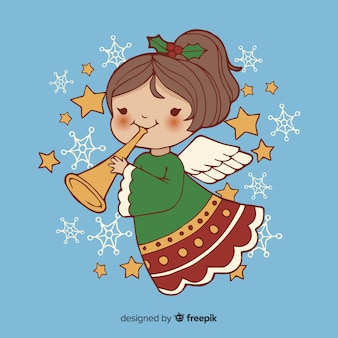 Hand drawn christmas angel