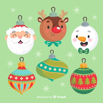 Hand drawn christmas avatar characters balls