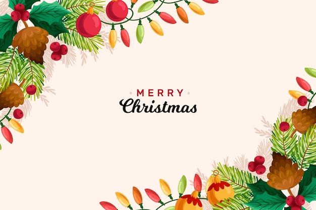 手描きのクリスマス背景コンセプト