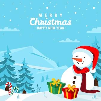 風景の中の手描きのクリスマスの背景