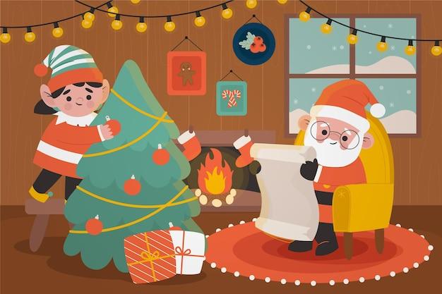 手描きのクリスマス背景テーマ