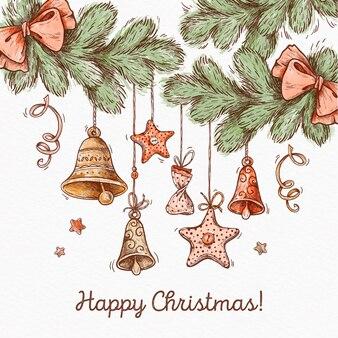 Рождественский фон с колокольчиками