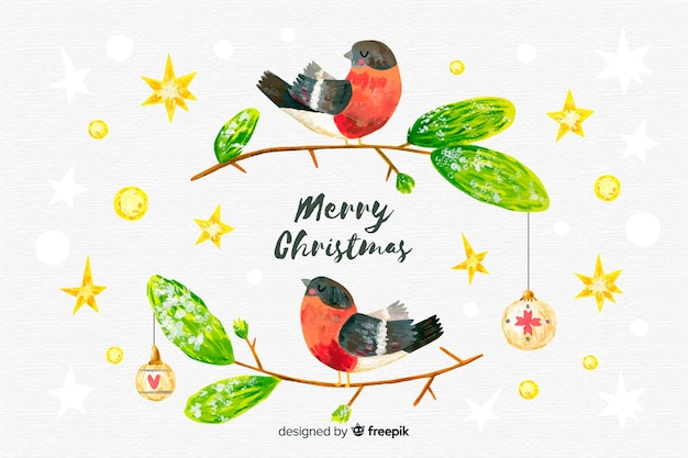 Hand drawn christmas background with birds