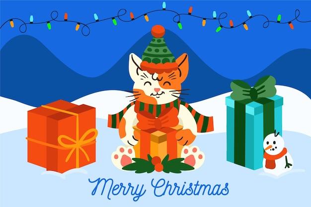手描きのクリスマスの背景に猫、ギフト