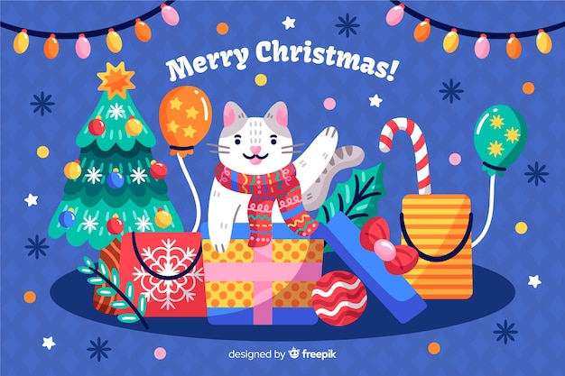 Hand drawn christmas background with cat and gifts