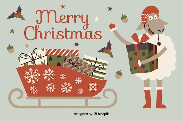 Hand drawn christmas background with christmas sledge