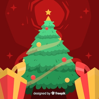 Hand drawn christmas background with christmas tree