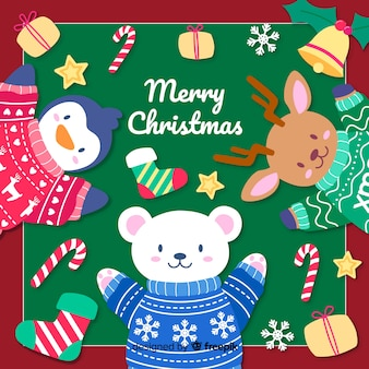 Hand drawn christmas background with cute animals