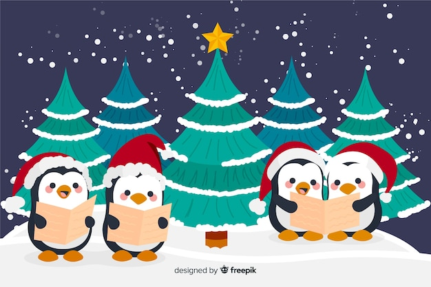 Hand drawn christmas background with cute penguins