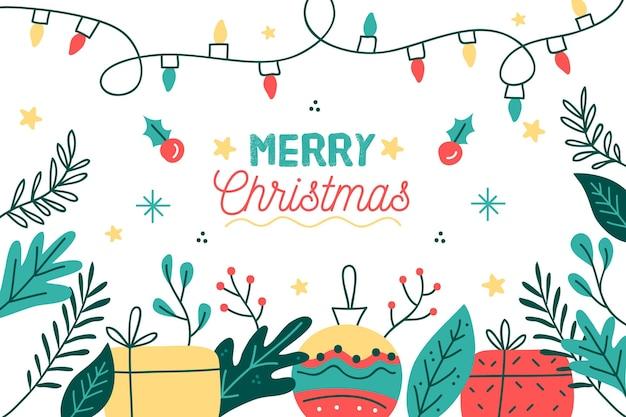 손으로 그린 선물 및 글로브 크리스마스 배경