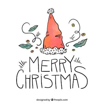 Рисованной рождественские фон с надписью и шляпу санта