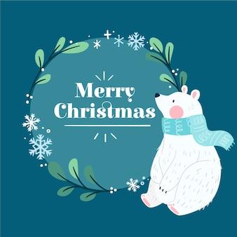 ホッキョクグマと手描きのクリスマスの背景