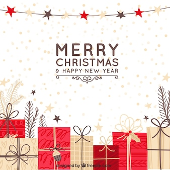 Hand drawn christmas background with red and beige gift boxes