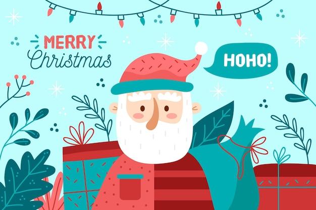 手描きのサンタとプレゼントとクリスマスの背景