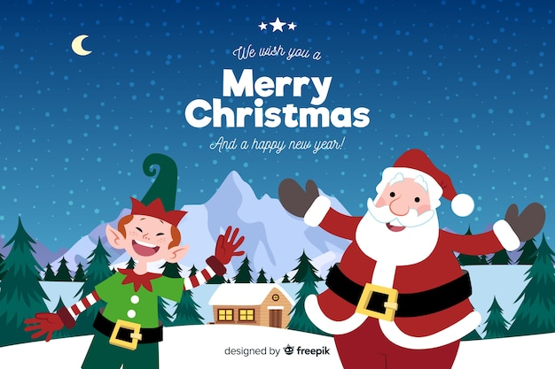 Hand drawn christmas background with santa claus and elf