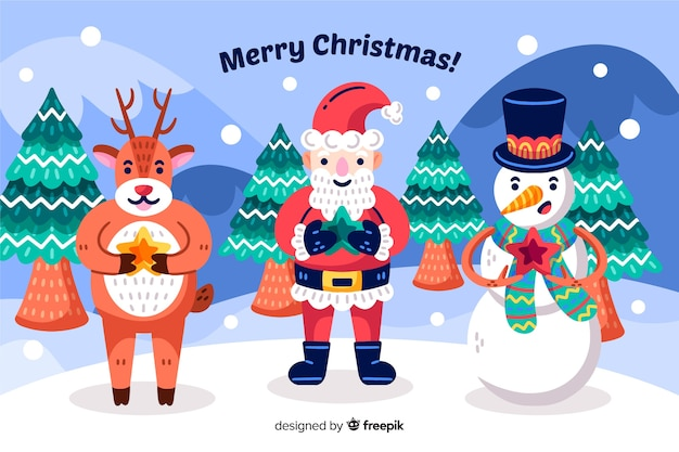 Hand drawn christmas background with santa claus and his helpers