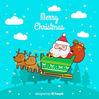 Hand drawn christmas background with santa claus