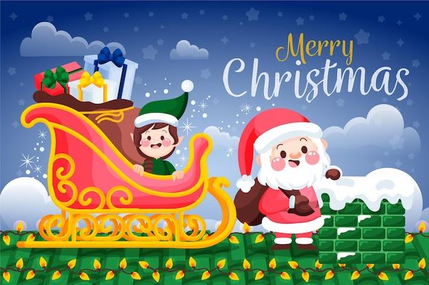 손으로 그린 산타 클로스와 크리스마스 배경