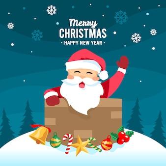 サンタクロースと手描きのクリスマスの背景