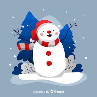 手描きの雪だるまとクリスマスの背景