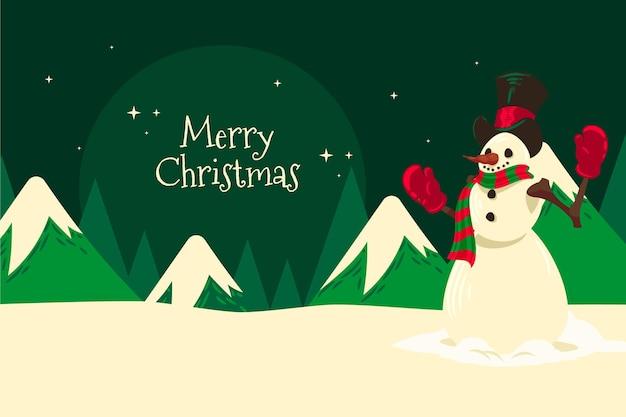 雪だるまと手描きのクリスマスの背景