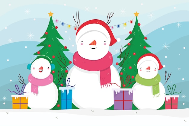 Hand drawn christmas background with snowmen