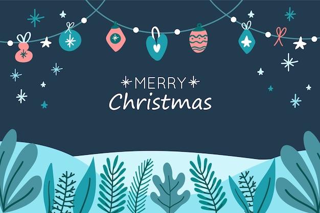 葉と花輪と手描きのクリスマスの背景