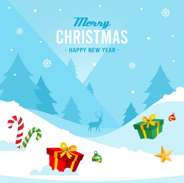 手描きのクリスマスの背景