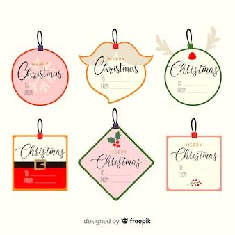 손으로 그린 크리스마스 배지 컬렉션