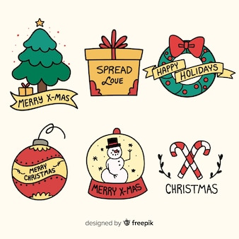 Hand drawn christmas badge collection