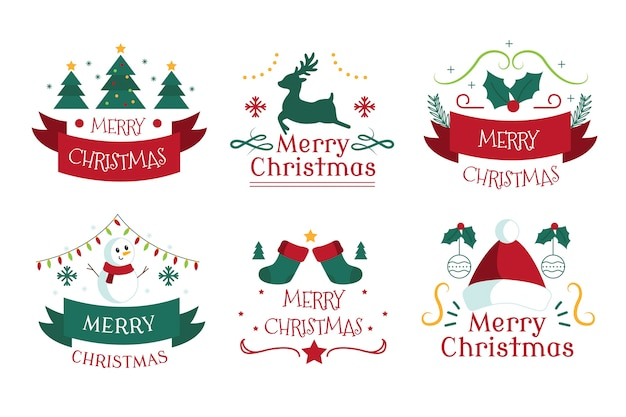 Hand drawn christmas badge collection