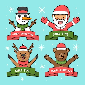 Collezione di badge natalizi disegnati a mano