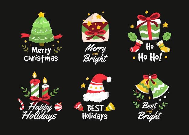 手描きのクリスマスバッジコレクション