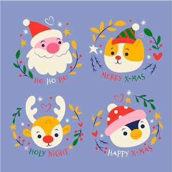 Коллекция рисованной рождественских значков