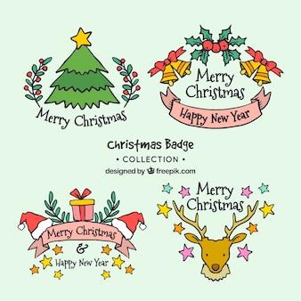 Hand drawn christmas bagde collection
