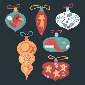 Collezione di ornamenti di palla di natale disegnata a mano