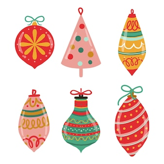 Hand drawn christmas ball ornaments collection