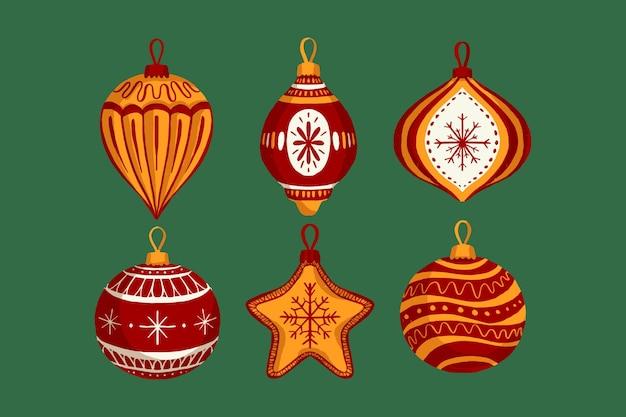 Hand drawn christmas ball ornaments collection