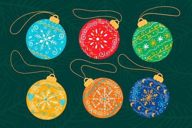 Hand drawn christmas ball ornaments set