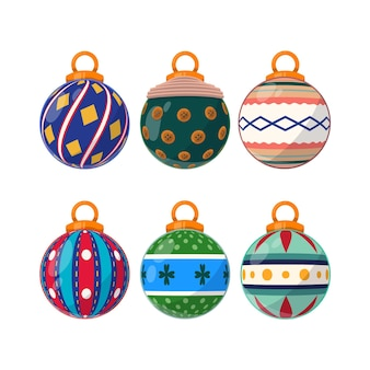 Hand drawn christmas ball ornaments set