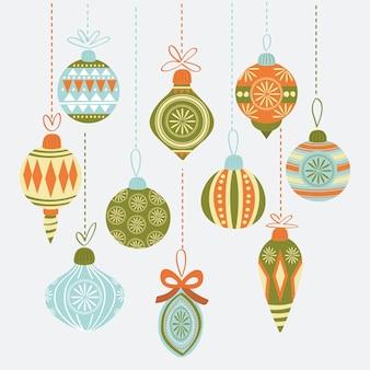 手描きのクリスマスボール飾りセット
