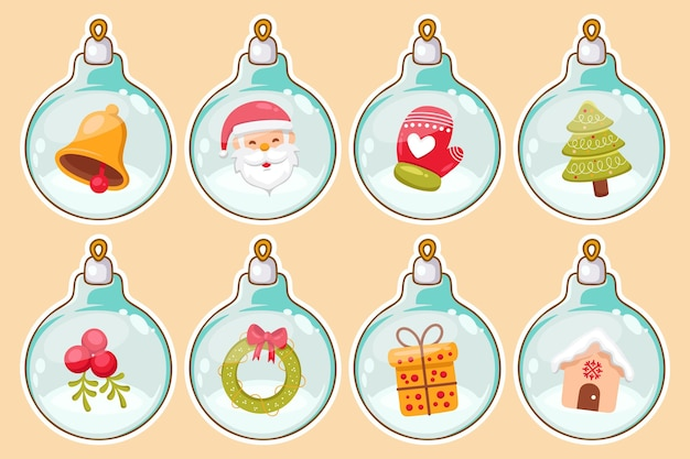 Hand drawn christmas ball ornaments