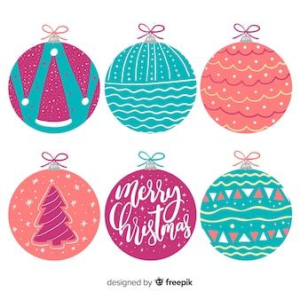Hand drawn christmas balls collection