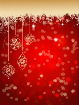 Hand drawn christmas balls on a bokeh red background
