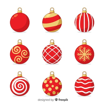 Hand drawn christmas balls in red colour shades